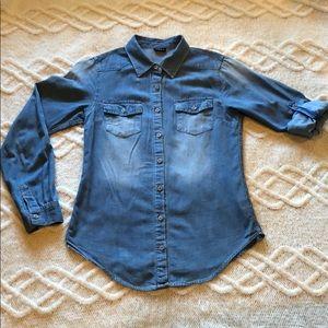 Denim chambray button up shirt